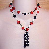 Coral & Black Onyx Lariat Necklace/Belt
