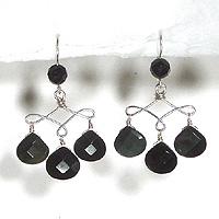 Faceted Rainbow Obsidian & Onyx Chandelier Earrings