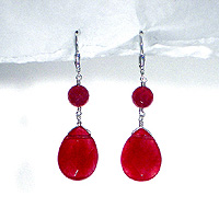Faceted Ruby Jade Drop Earrings