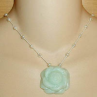 Amazonite Rose Necklace with Pearls