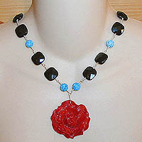 Red Bone Rose Necklace with Turquoise & Black Onyx