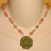 Olive Jade Rose Necklace with Olive Jade & Cherry Quartz