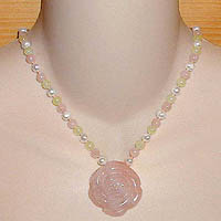 Rose Quartz Rose Necklace with New Jade & Rose Quartz