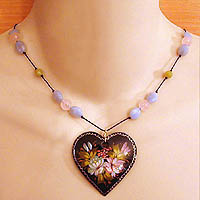 Hand Painted Heart Necklace with Olive Jade, Amazonite & Rose Quartz