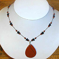 Red Jasper Teardrop Necklace with Hematite & Red Jasper