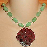 Soo Chow Jade Fish Necklace with Green Aventurine