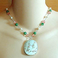 Ming Pottery Shard Necklace with Pearl, Green Aventurine & Cherry Quartz