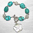DKC ~ MOP Flower Charm Bracelet with Turquoise & Pearl