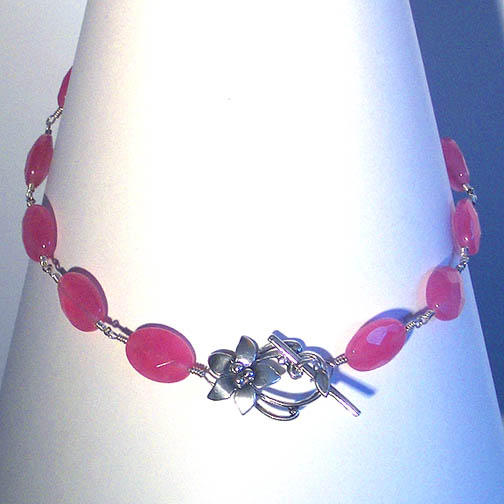Faceted Pink Jade Necklace with a Sterling Silver Flower Clasp