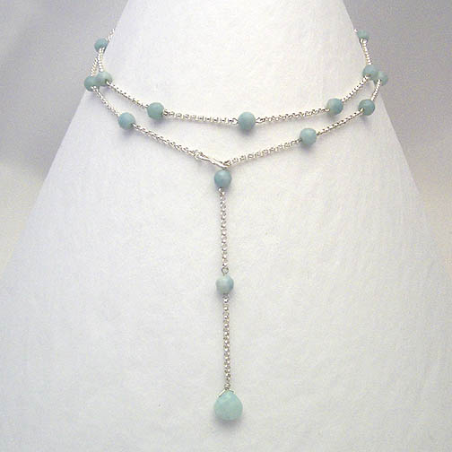 Amazonite & Sterling Silver Chain Lariat Necklace