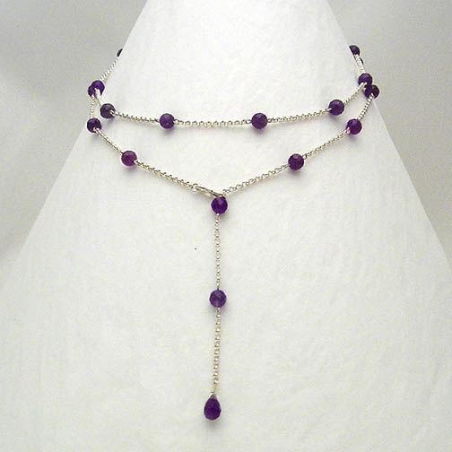 Amethyst & Sterling Silver Chain Lariat Necklace