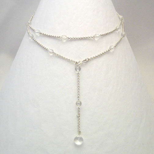 Clear Quartz & Sterling Silver Chain Lariat Necklace