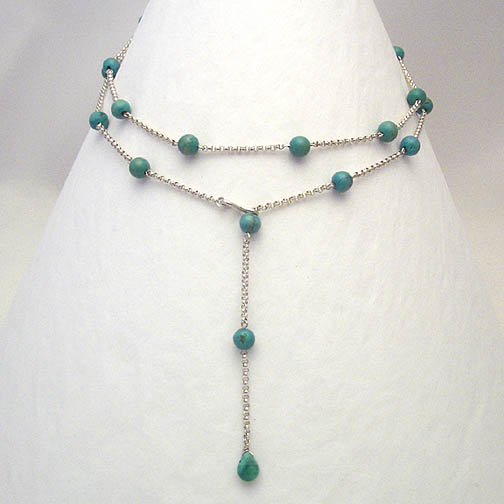 Turquoise & Sterling Silver Chain Lariat Necklace