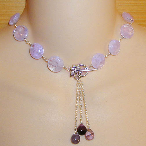 Lavender Quartz Necklace w/ Fluorite Drops
