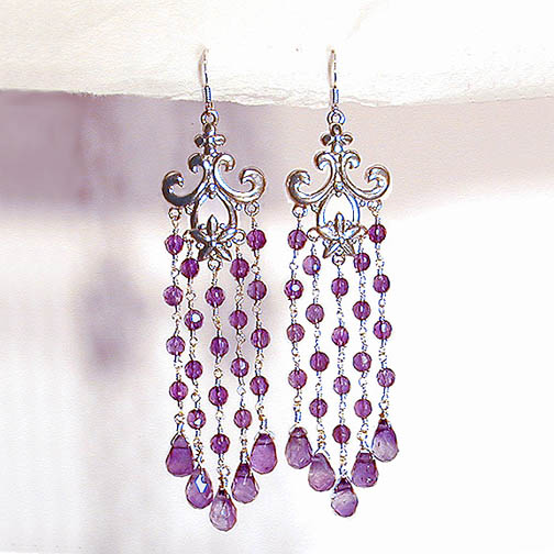 Amethyst Fleur de Lis Chandelier Earrings