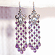 DKC ~ Amethyst Fleur de Lis Chandelier Earrings