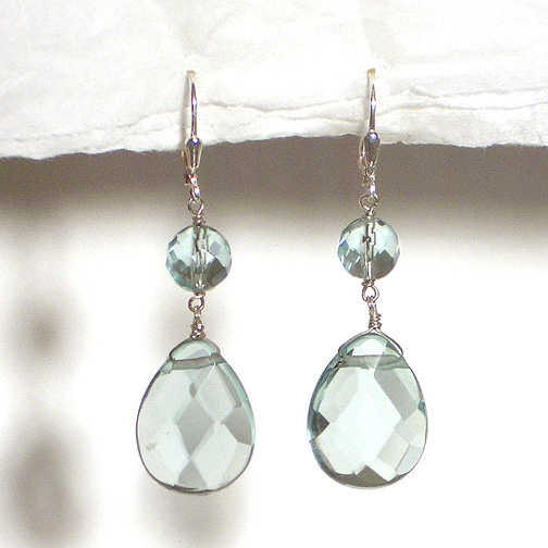 Faceted Aqua Quartz Teardrop Earrings
