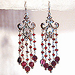 DKC ~ Faceted Garnet Fleur de Lis Chandelier Earrings
