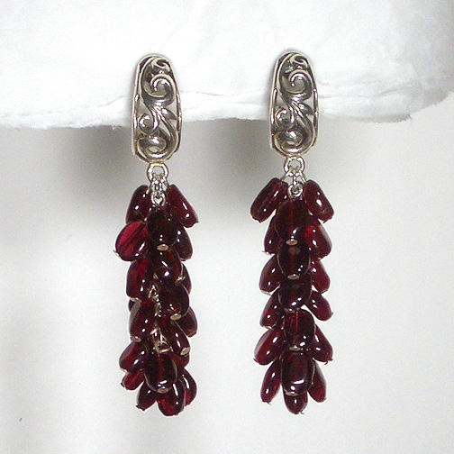 Garnet Cluster Swirling Earrings