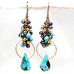 DKC ~ Turquoise, Gold & Black Pearl Chandelier Cluster Earrings