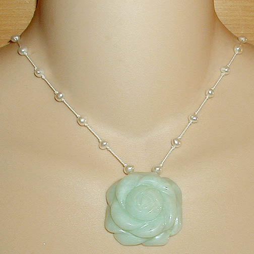 Amazonite Rose Necklace w/ Pearls