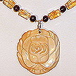 DKC ~ Bone Rose Necklace w/ Citrine & Garnet