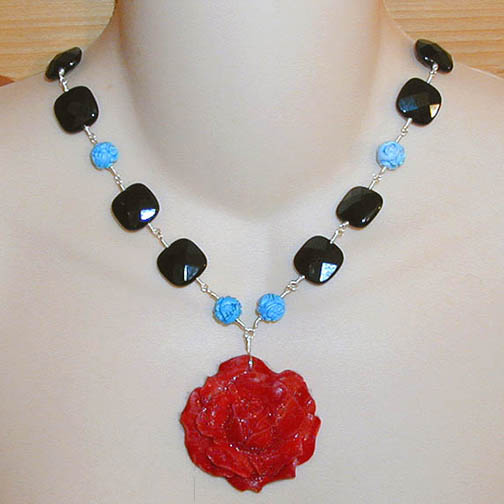 Dkc Devon Kai Collections Designer Jewelry Dyed Bone Rose Necklace W Carved Turquoise Black Onyx