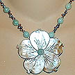 DKC ~ Blacklip MOP Flower Necklace w/ Amazonite & Grey Pearl