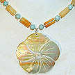 DKC ~ Cream MOP Flower Necklace w/ Yellow Jade & Amazonite