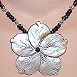 DKC ~ Blacklip MOP Flower Necklace w/ Garnet & Pearl