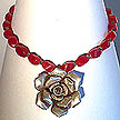 DKC ~ Bali Silver Rose Necklace w/ Ruby Jade & Bali Beads