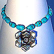 DKC ~ Bali Silver Rose Necklace w/ Turquoise & Bali Beads