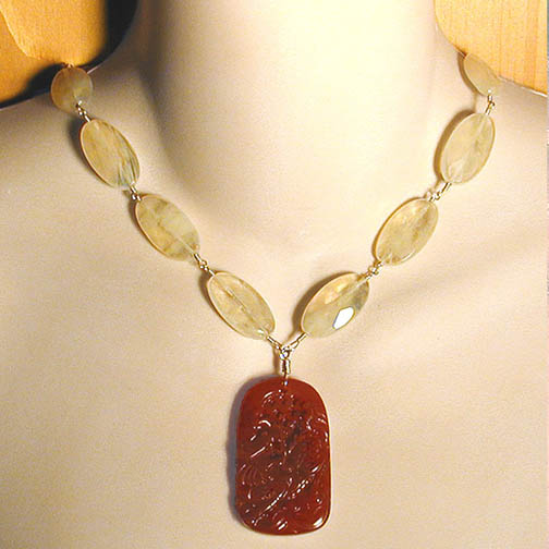 Carnelian Dragon Necklace w/ Pineapple Quartz
