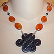DKC ~ Jade Celtic Knot Necklace w/ Carnelian & Garnet