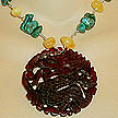 DKC ~ Jade Dragon Necklace w/ Amber & Turquoise
