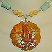 DKC ~ Jade Twin Fish Necklace w/ Yellow Jade & Green Aventurine