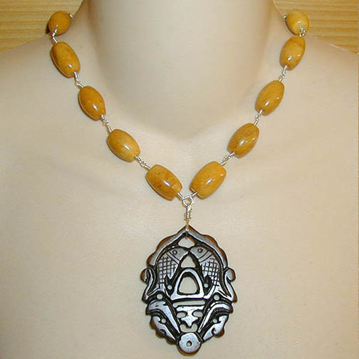 Jade Twin Fish Necklace w/ Picture Jasper