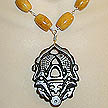 DKC ~ Jade Twin Fish Necklace w/ Picture Jasper