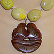 DKC ~ Jade Lovebird Necklace w/ Yellow Turquoise