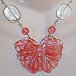 DKC ~ Cherry Quartz Butterfly Necklace w/ Cherry Quartz & Crystal Quartz