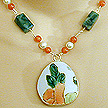 DKC ~ Ming Pottery Shard Necklace w/ African Jade, Carnelian & Pearl
