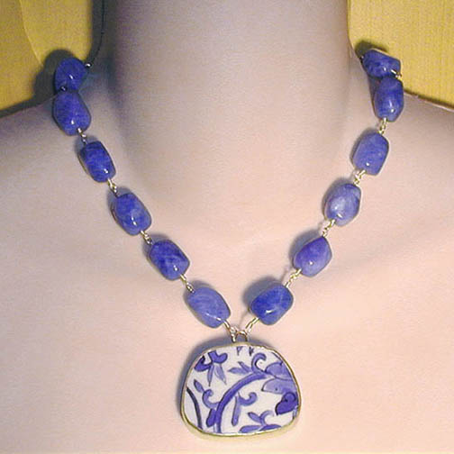 Pottery Shard Vine Necklace w/ Blue Quartz Nuggets