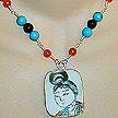 DKC ~ Ming Pottery Shard Necklace w/ Carnelian, Turquoise & Onyx