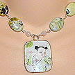DKC ~ Ming Pottery Shard Necklace w/ Yellow Turquoise & Rose Quartz