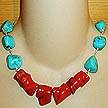 DKC ~ Coral Chunk Necklace w/ Turquoise Chunks