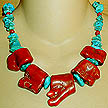 DKC ~ Coral Chunk Necklace w/ Sleeping Beauty Turquoise