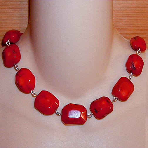 Faceted Coral Chunk Necklace