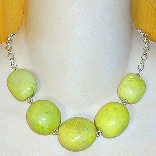 Yellow Turquoise Necklace on Sterling Chain