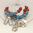 DKC ~ Southwestern Turquoise & Coral Wine Charms